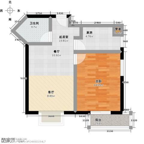 伊顿玫瑰公寓1室0厅1卫1厨66.00㎡户型图