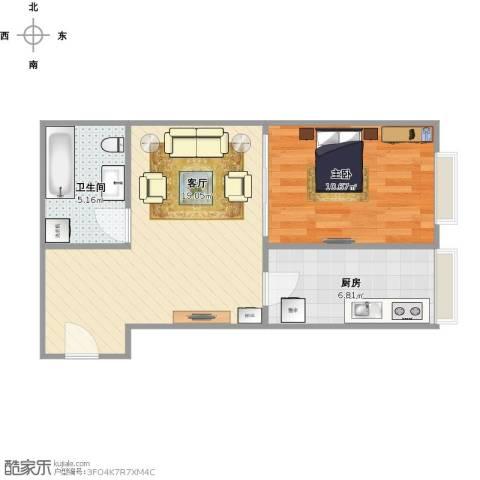 国展新座1室1厅1卫1厨56.00㎡户型图