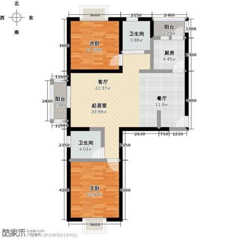 伊顿玫瑰公寓2室0厅2卫1厨110.00㎡户型图