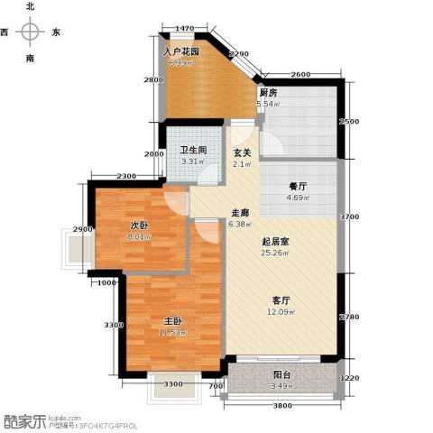 福隆花园2室0厅1卫1厨90.00㎡户型图