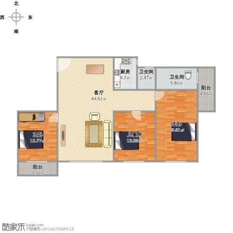 华富大厦3室1厅2卫1厨149.00㎡户型图