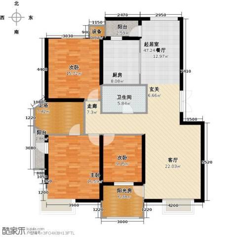 观山亲庭3室0厅1卫1厨149.00㎡户型图