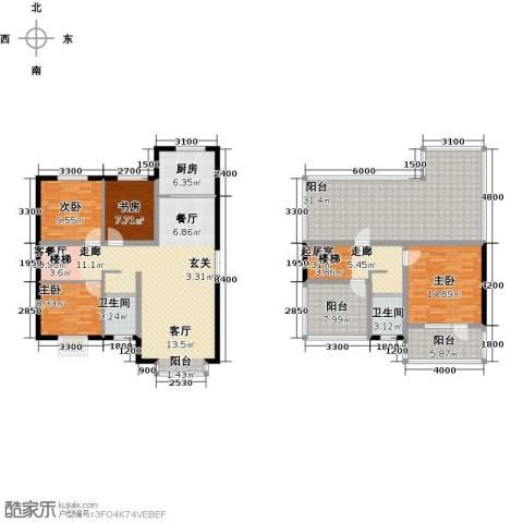 溪语原筑4室1厅2卫1厨148.00㎡户型图