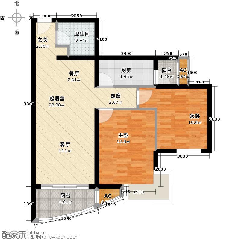 万润风景91.66㎡1号楼标准层T1户型
