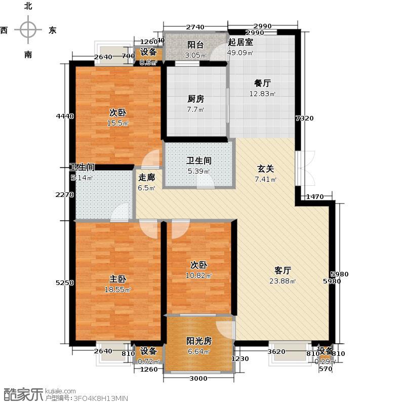 观山亲庭150.00㎡B户型三室二厅二卫户型