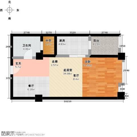 尚城河滨1卫1厨73.00㎡户型图