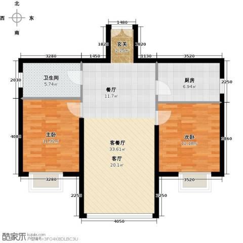 运河明珠家园2室1厅1卫1厨78.00㎡户型图