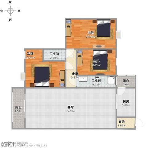 华林东盛花园二期3室1厅2卫1厨128.00㎡户型图