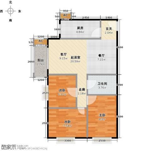 圣淘沙3室0厅1卫1厨100.00㎡户型图