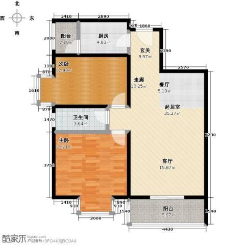 奇星御园2室0厅1卫1厨90.00㎡户型图