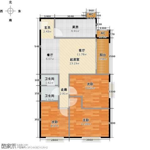圣淘沙3室0厅2卫1厨95.00㎡户型图