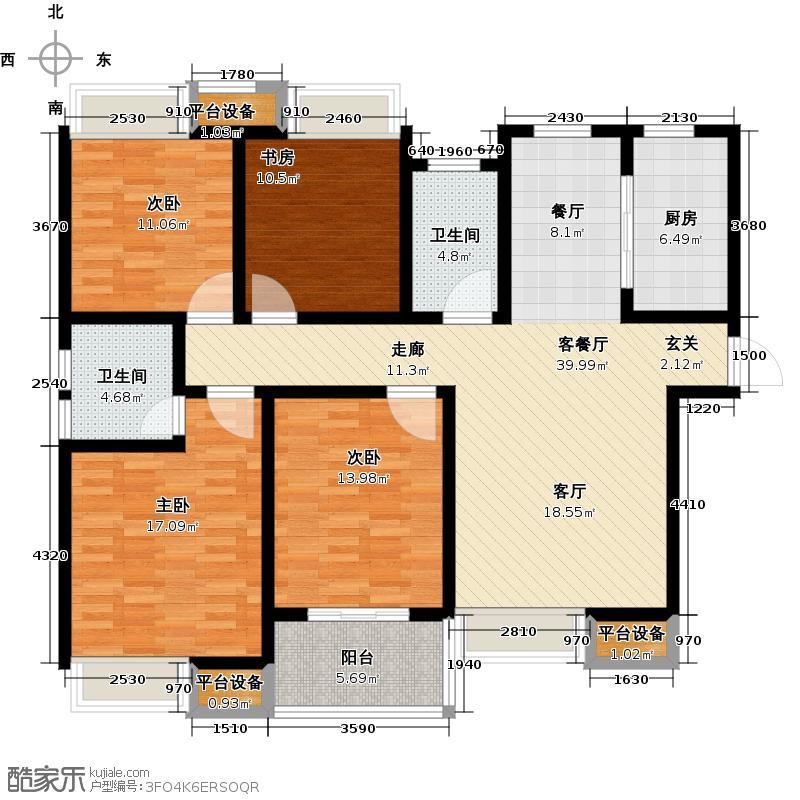 绿地国际花都西户标准层A1户型4室2厅2卫1厨136.00㎡户型4室2厅2卫