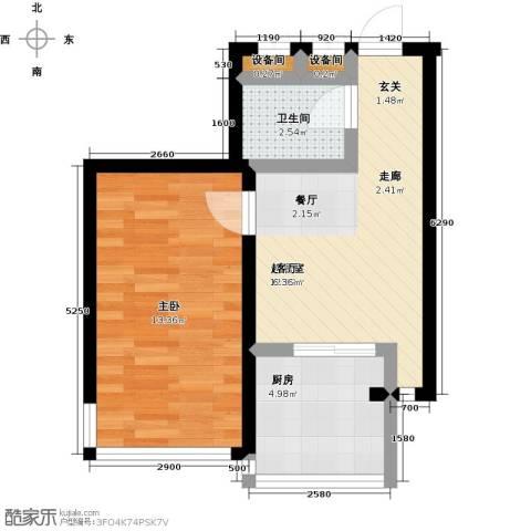 北苑绿洲1室0厅1卫1厨50.00㎡户型图
