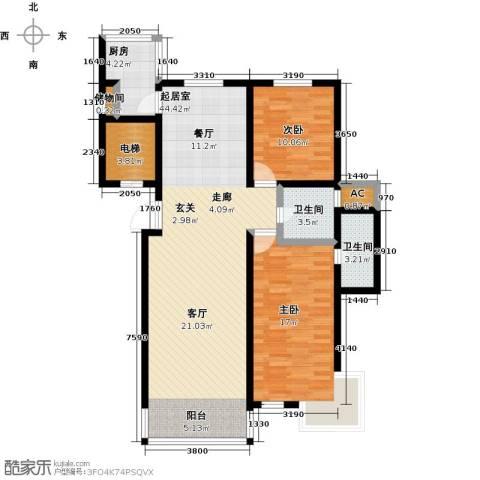 北苑绿洲2室0厅2卫1厨125.00㎡户型图