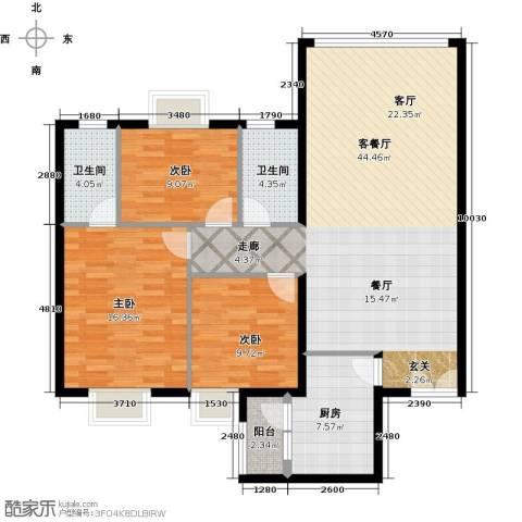 运河明珠家园3室1厅2卫1厨108.00㎡户型图