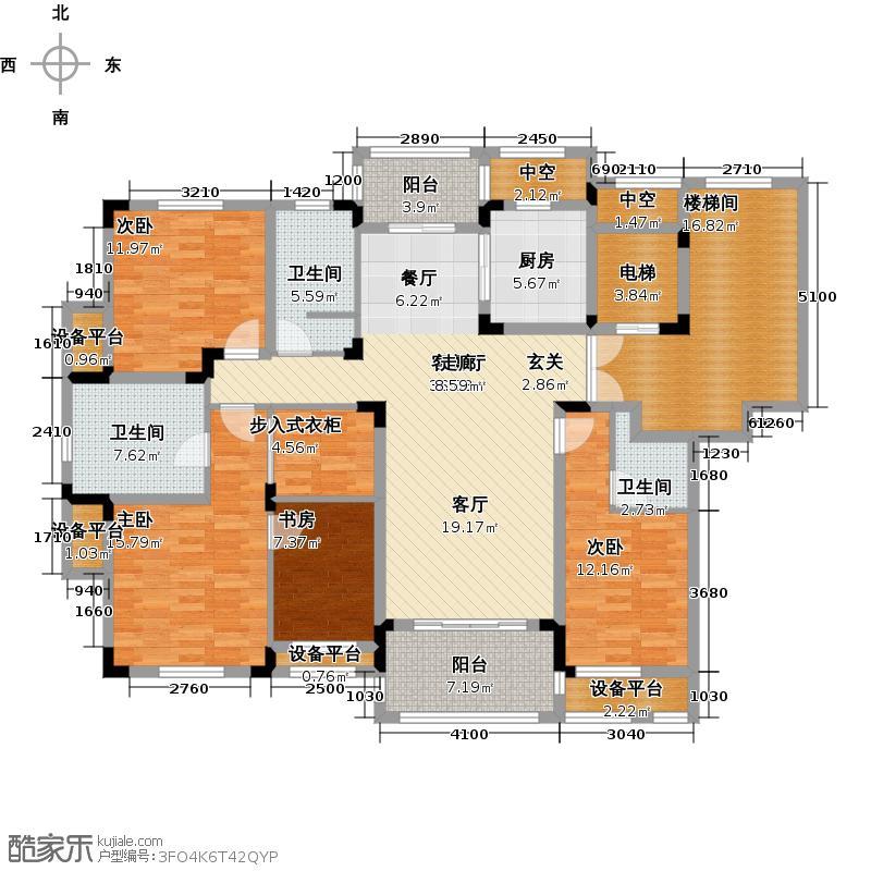 洛城中央御景176.00㎡2-07户型3室2厅3卫