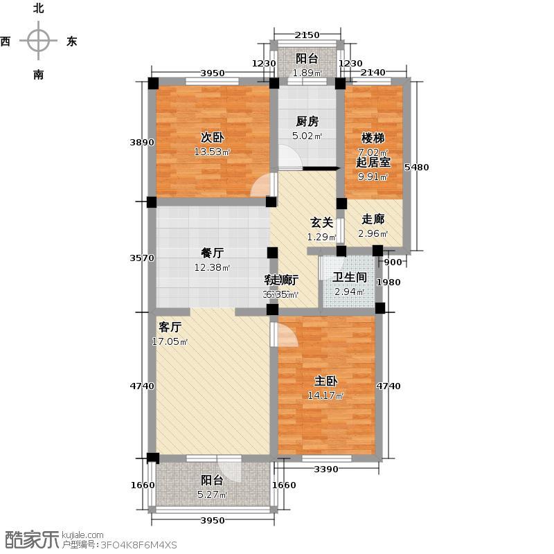 新华小区92.00㎡两室两厅一卫户型