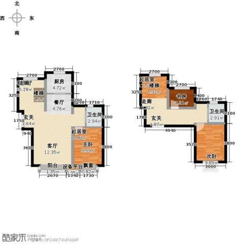 溪语原筑2室1厅2卫1厨141.00㎡户型图
