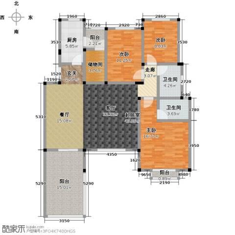 万润一品苑3室0厅2卫1厨145.00㎡户型图