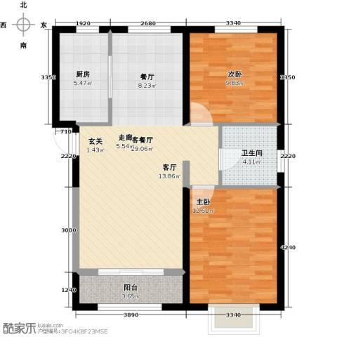 中冶蓝城2室1厅1卫1厨98.00㎡户型图