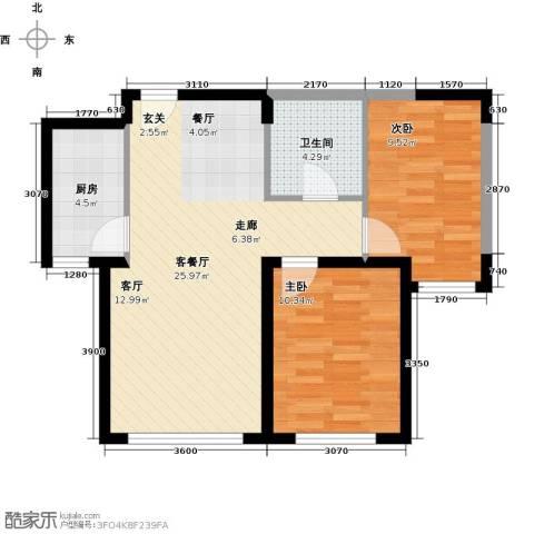 中冶蓝城2室1厅1卫1厨80.00㎡户型图