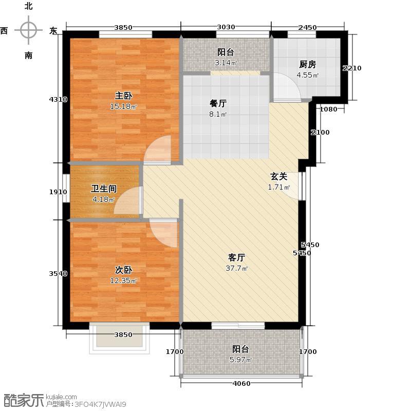 翔川家园88.00㎡两房两厅两卫88平米南北通户型