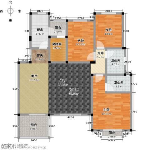万润一品苑3室0厅2卫1厨129.00㎡户型图