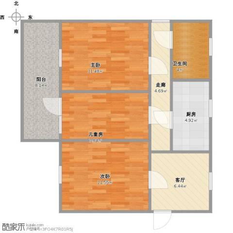 芙阁新村3室1厅1卫1厨81.00㎡户型图
