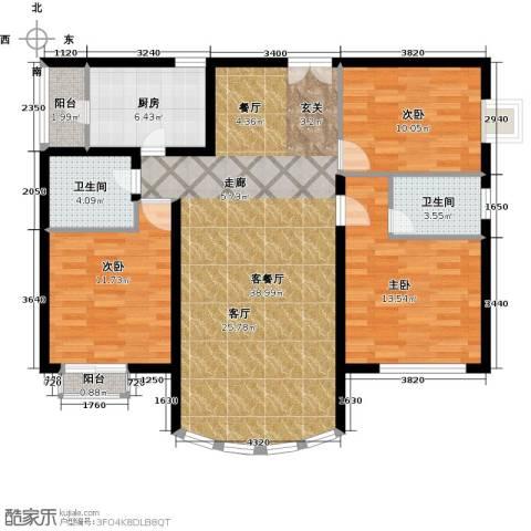 运河明珠家园3室1厅2卫1厨110.00㎡户型图