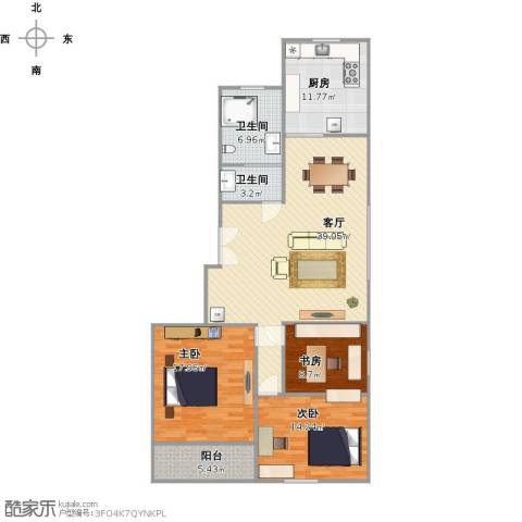 新海枫景3室1厅2卫1厨143.00㎡户型图