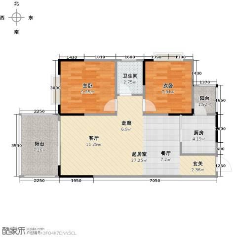 博罗新时代花园2室0厅1卫1厨82.00㎡户型图