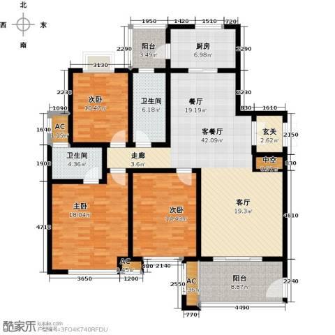 上城3室1厅2卫1厨140.00㎡户型图