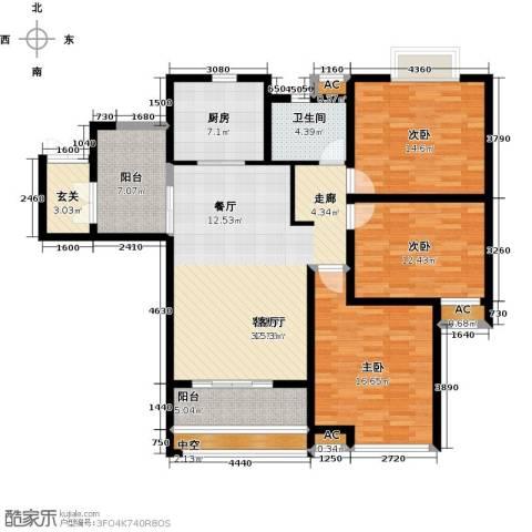 上城3室1厅1卫1厨123.00㎡户型图