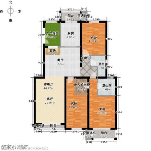 天鸿美域3室1厅2卫1厨154.00㎡户型图