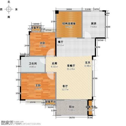 远大生态风景2室1厅1卫1厨107.00㎡户型图