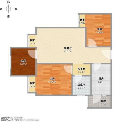 美每家美华星都3室1厅1卫1厨76.00㎡户型图