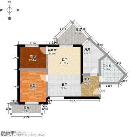伊顿玫瑰公寓2室0厅1卫1厨91.00㎡户型图