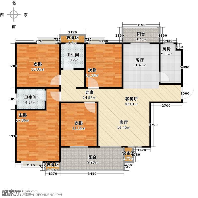 荣华・卧龙公馆137.51㎡B1户型4室2厅2卫