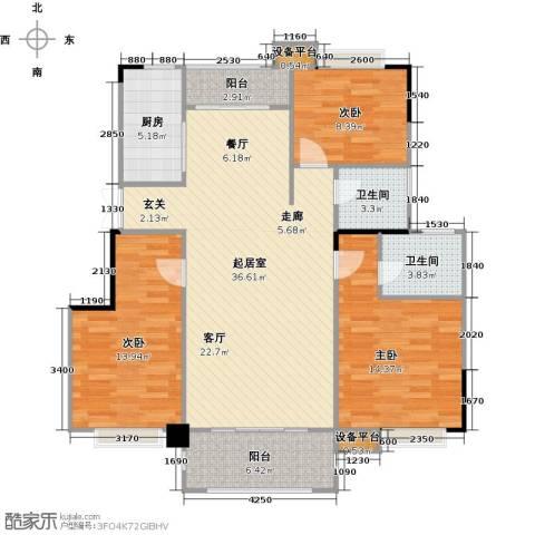 远大生态风景3室0厅2卫1厨130.00㎡户型图