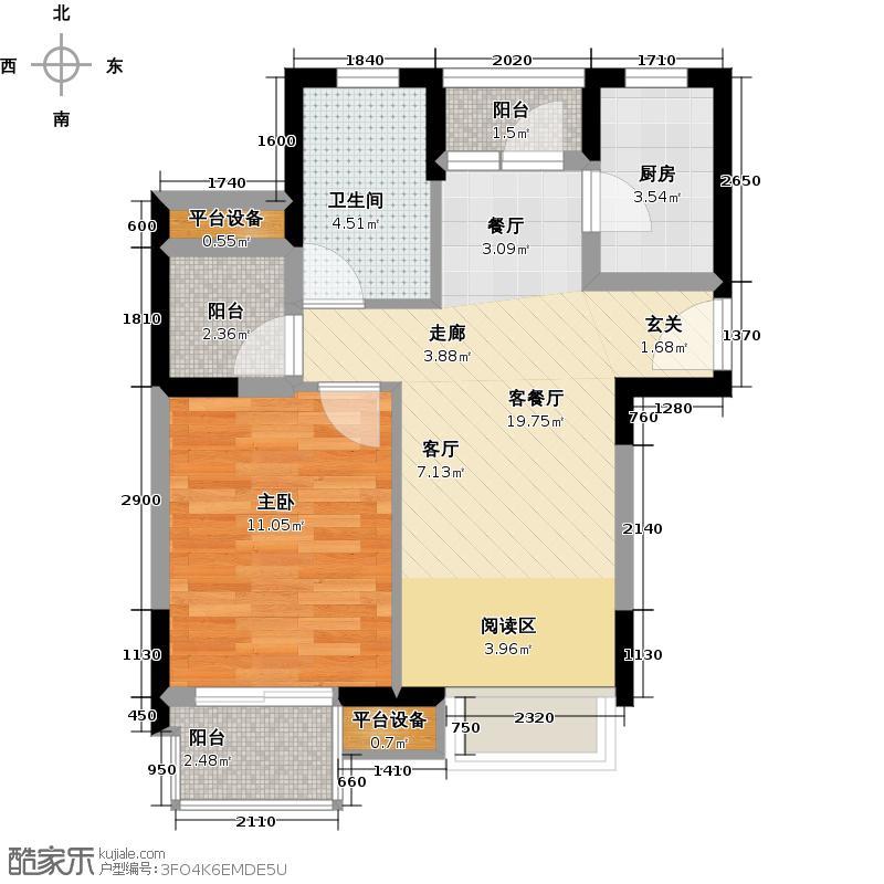 中翔丽晶55.00㎡中翔丽晶55.00㎡1室2厅1卫户型1室2厅1卫