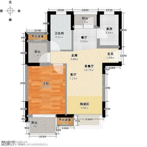 中翔丽晶1室1厅1卫1厨55.00㎡户型图