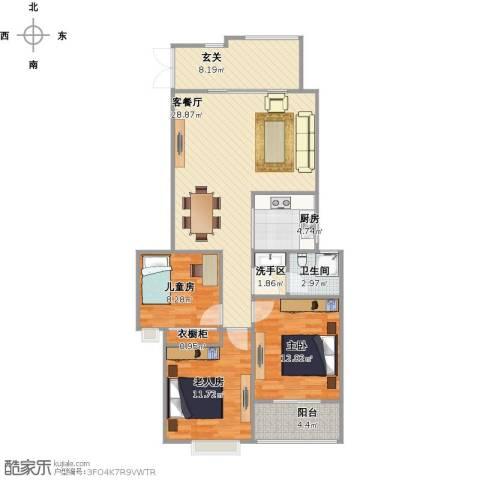 友创滨河湾112平米三室两厅一卫户型3室1厅1卫1厨114.00㎡户型图