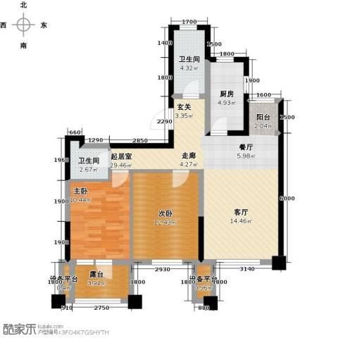 阳光新业国际2室0厅2卫1厨92.00㎡户型图