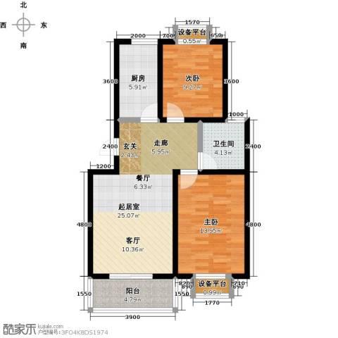 城铁边上的家2室0厅1卫1厨82.00㎡户型图