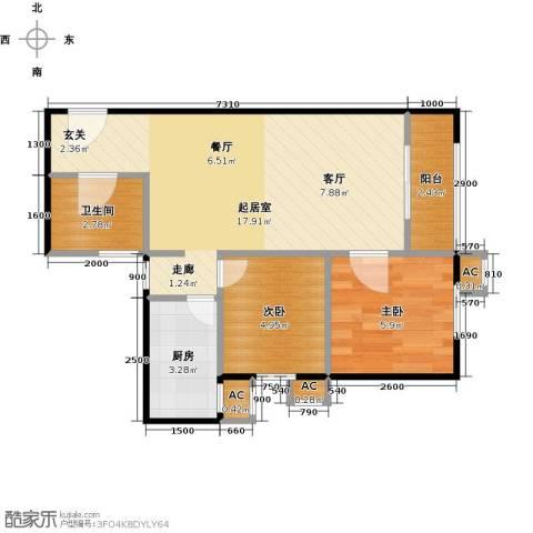 圣淘沙2室0厅1卫1厨89.00㎡户型图