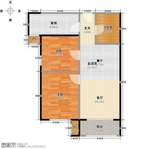 圣淘沙2室0厅1卫1厨81.00㎡户型图