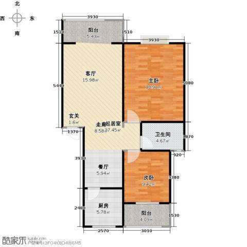 华兴名城2室0厅1卫1厨107.00㎡户型图