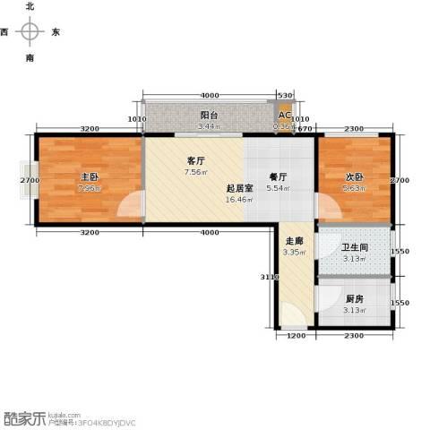 圣淘沙2室0厅1卫1厨87.00㎡户型图