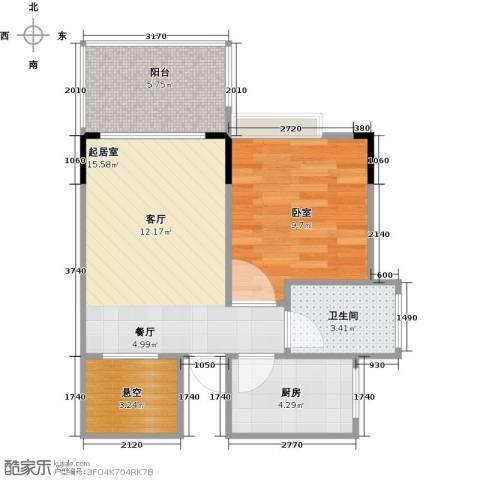 衍宏・美丽春天4期1卫1厨46.00㎡户型图