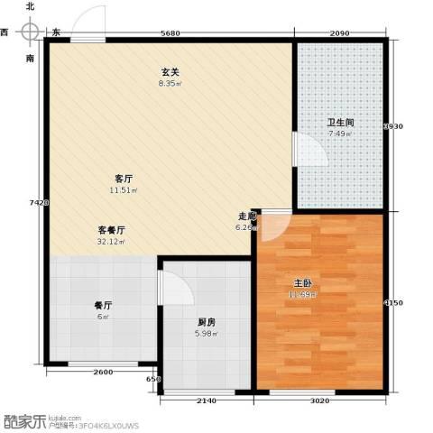 梅江馨城1室1厅1卫1厨61.00㎡户型图